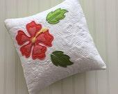 Hawaiian Flower Applique Pillow Hibiscus Flower Square Pillow