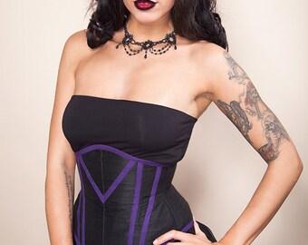 "REDUCED - black silk and purple geometric underbust corset 25"""