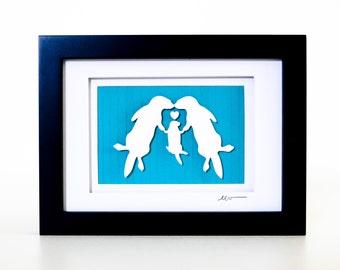 Otter Family - Paper Cut Framed Art