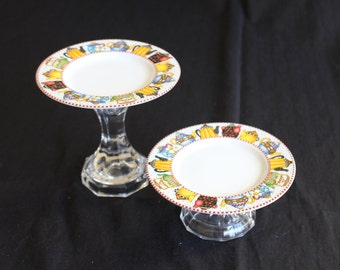 """Mary Engelbreit """"Afternoon Tea"""" upcycled cupcake stands or candy dishes"""