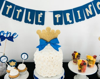 Prince Crown Cake Topper - lil Prince Decor - 1st Birthday Decor - Cake Topper - Blue and Gold Decor
