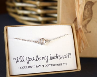 Bridesmaid Necklce, Will you be my Bridesmaid, Swarovski Crystal Necklace, Dainty Crystal Pendant