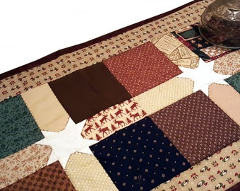 Handmade Quilt Country Primitive Table Runner, Dresser Topper or Mat, Wall Hanging,  Home Decor