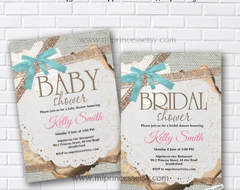 baby Shower, bridal shower, burlap, rustic, invitation,Vintage Rustic Lace baby boy baby girl , bridal, wedding, Sackcloth - card 286