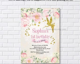 Fairy invites, Birthday Invitation, gold fairy girl birthday party for any age 1st 2nd 3rd 4th 5th 6th 7th 8th 9th 10th- card 1109