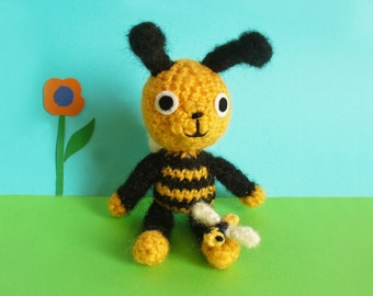 Busby the crochet bee with his little baby bee, amigurumi bee soft toy