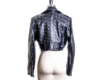 70s Vtg Cropped Studded Leather Motorcycle Biker Jacket Size Medium