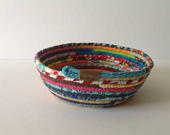 Multi Colored Coiled rope Bowl, Fabric Bowl, Catchall Basket, Organizer Basket, Quiltsy Handmade