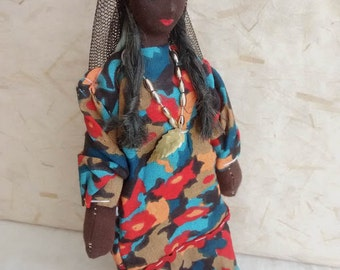 Egyptian costume doll, folk doll, vintage, North-African doll, vintagefr
