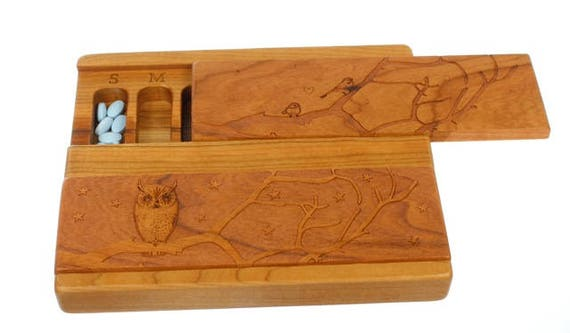 DISCONTINUED SLENDER BOX - Owl and Chickadee Day and Night Weekly Pill Box, Slender, Solid Cherry Hardwood, Paul Szewc, Masterpiece Laser