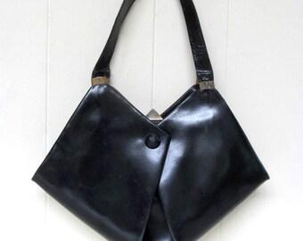 Vintage 1940s Purse / 40s Black Leather Avant Garde Handbag / Saks Fifth Avenue
