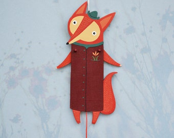 Home décor, Kids room décor, Jumping Jack, wood wall art, ornament, mini wall painting, red fox