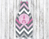 PINK GREY CHEVRON personalized monogram bottle beverage insulator - zippered back for longnecks - weddings, bachelorette, parties, beaches