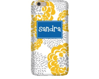 Monogram iPhone 7 Plus * 7 * 6/6S Plus * 6/6S * SE premium golden peony phone case personalized with name or initials