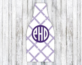 BAMBOO REVERSE personalized monogram bottle beverage insulator - zippered back for longnecks - weddings, bachelorette, parties, beaches