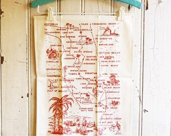 Vintage Florida Tea Towel  - Pre-Disney Florida Map Souvenir Towel - White with Red Design - Unused - NOS  - Mid-Century 1960s