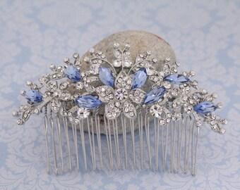 Bridal hair accessories,Wedding hair flower,Sapphire color crystal Bridal hair comb,Wedding hair jewellery,Bridal comb,Wedding headpiece