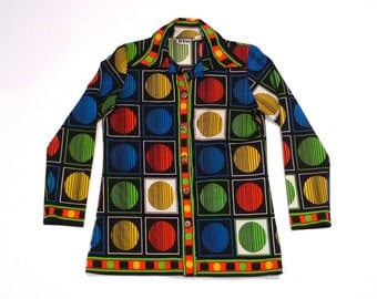 Op Art Top Vintage Red Green Blue Yellow Psychedelic Shirt Tress 1970s Polyester Knit Disco Blouse Optical Mod Spots Dots Spheres Circles