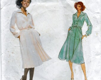 Vogue American Designer 1829 Jerry Silverman Women's 70s Dress Sewing Pattern Size 12 Bust 34