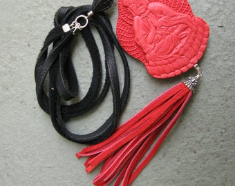 Red and Black Long Tassel Necklace w Double Sided Buddha - Sterling-Deer Suede Lace-Leather