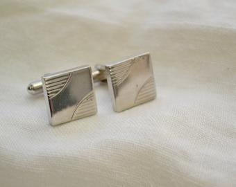1960s Square Silver Cuff Links