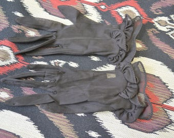 1950s Fownes Black Ruffled Sheer Gloves, Size 6 1/2