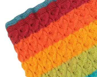 Hand Knitted Rainbow Yarn Baby Rug/Blanket, with Beautiful Reversable Cable Detail