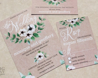 New for 2017! Green Wreath watercolor wedding invitations. Green leaves Kraft Invitations. Watercolor Wreath Wedding Invitation set
