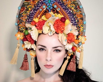 Bright & Colourful 'Wandflower' Summery Couture Kokoshnik Headdress