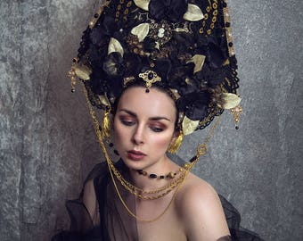 Black and Gold 'Calanthe' Orchid Peacock Opulent Kokoshnik Priestess Headdress