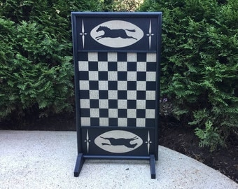 Checkerboard, Horse, Wood, Game Board, Wooden Game Board, Folk Art, Primitive, Checkers, Board Game