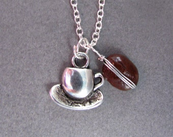 Real Coffee Bean and Coffee Cup Charm Silver Necklace
