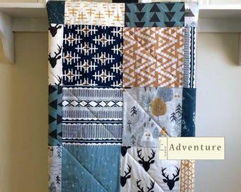 Baby Quilt Boy, Boy Blanket, Rustic Boy Quilt, Deer, Minky Baby Quilt, Navy Crib Bedding, Baby Quilt Handmade, Gray, Mustard - Adventure