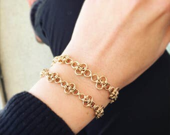 Links bracelet, Chain link bracelet, Chainmaille bracelet, Loop bracelet, Gold link bracelet, Unique gold bracelet, Layered gold bracelet
