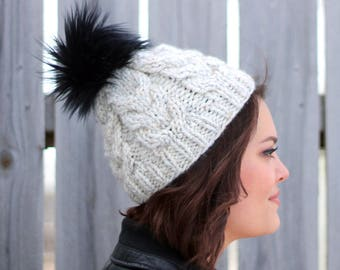 Knitted Cable Beanie in Off White With Black Faux Fur Pom Pom- Cable Hat- Woman's Beanie