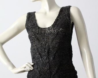 leather tank top, 1980s woven leather sleeveless blouse