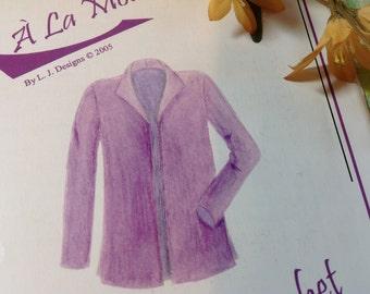 L J Design Pattern- Latte Jacket 2005, Sizes XXS to XXL , Uncut