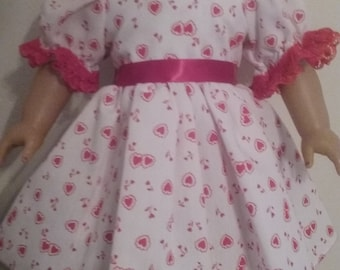 Valentine dress, hearts ,lace and ribbon for american girl 18 inch doll