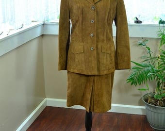 Vintage Leather Modell Jacket and Skirt - M
