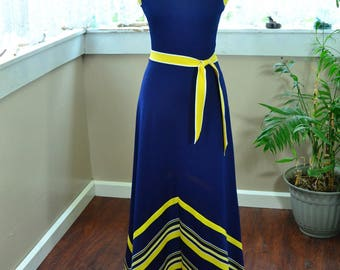 Vintage Blue and Yellow Sleeveless Maxi Dress with Belt Chevron Design - S - M