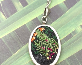 Hand Embroidered Necklace. Hand Stitched Pendant. Silver Oval Pendant. Embroidery Jewelry. Hand Stitched Pendant With Flowers Silver Pendant