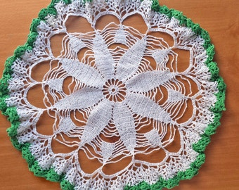 White Vintage Crochet Doily with Green Ruffled Border, 11 inch Handmade Doily with Ruffle Edge