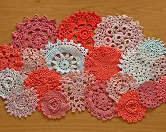 20 Orange, Peach, White, and Beige Doilies, Hand Dyed Doilies 2.5 to 5 inch Craft Doilies
