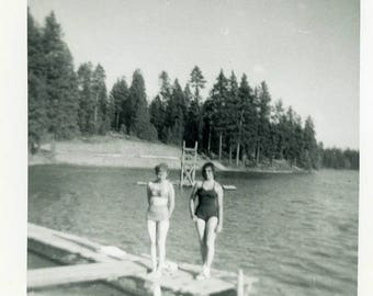 "Vintage Photo ""Crystal Lake Swimmers"" Snapshot Antique Photo Old Black & White Photograph Found Paper Ephemera Vernacular - 115"