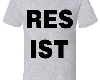 Resist shirt, American Apparel heather gray, available S, M, L, Xl, XXL- Worldwide shipping
