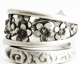 Forget Me Not Ring, Antique Spoon Ring Sterling Silver, Forget Me Not Flower Gift for Her, Adjustable Ring Size, Whiting Silver 1885 (6628)