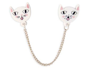 Mocking Cats Collar Clips - Pins Pin Kawaii Cute Funny Colorful Pink White Laser Cut Perspex Acrylic Kittens Kitten Retro