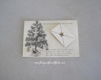 Antique French Catholic Religious Christmas Card Surprise Under the Christmas Tree Ave Maria Paris