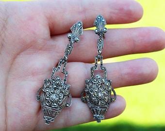 Vintage Art Deco Earrings German Sterling Silver and Marcasite Earrings Chandelier Style