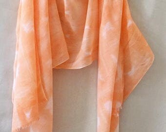 Coral Scarf, Shibori Scarf, Coral Cotton Scarf, Orange Scarf, Hand Painted Scarf, Boho Scarf,  Hand Dyed Scarf, Cotton Shibori, Summer Scarf